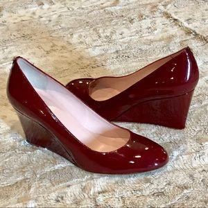 ❤️Kate Spade Patent Leather Wedge Heels Burgundy 9